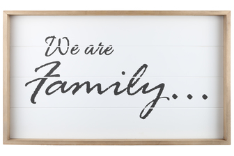 "UTC17103 Wood Rectangle Wall Art with Frame, Printed ""WE ARE FAMILY"" and Metal Sawtooth Back Hangers Smooth Finish White"