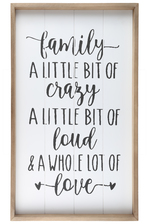 "UTC17104 Wood Rectangle Wall Art with Frame Printed ""FAMILY QUOTE"" and Metal Sawtooth Back Hangers Smooth Finish White"