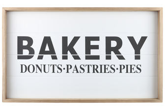 "UTC17105 Wood Rectangle Wall Art with Frame, Printed ""BAKERY"" and Metal Sawtooth Back Hangers Smooth Finish Brown"