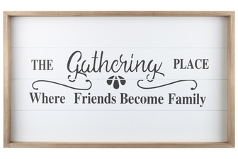 "UTC17106 Wood Rectangle Wall Art with Frame, Printed ""THE GATHERING PLACE"" and Metal Sawtooth Back Hangers Smooth Finish White"