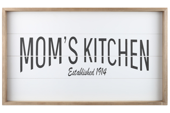 "UTC17107 Wood Rectangle Wall Art with Frame, Printed ""MOM'S KITCHEN"" and Metal Sawtooth Back Hangers Smooth Finish White"