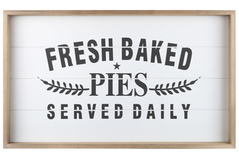 "UTC17109 Wood Rectangle Wall Art with Frame, Printed ""FRESH BAKED PIES"" and Metal Sawtooth Back Hangers Smooth Finish Tan"