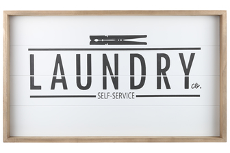 "UTC17110 Wood Rectangle Wall Art with Frame, Printed ""LAUNDRY SELF SERVICE"" and Metal Sawtooth Back Hangers Smooth Finish White"