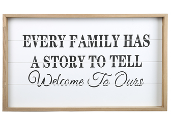"UTC17111 Wood Rectangle Wall Art with Frame, Printed ""FAMILY ORIENTED QUOTE"" and Metal Sawtooth Back Hangers Smooth Finish White"
