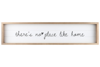 "UTC17112 Wood Rectangle Wall Art with Frame, Printed ""THERE'S NO PLACE LIKE HOME"" and Metal Sawtooth Back Hangers Smooth Finish White"