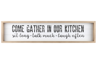 "UTC17113 Wood Rectangle Wall Art with Frame, Printed ""COME GATHER IN OUR KITCHEN"" and Metal Sawtooth Back Hangers Smooth Finish White"