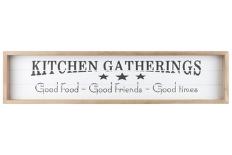 "UTC17114 Wood Rectangle Wall Art with Frame, Printed ""KITCHEN GATHERING"" and Metal Sawtooth Back Hangers Smooth Finish White"