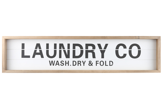 "UTC17115 Wood Rectangle Wall Art with Frame, Printed ""LAUNDRY CO"" and Metal Sawtooth Back Hangers Smooth Finish White"