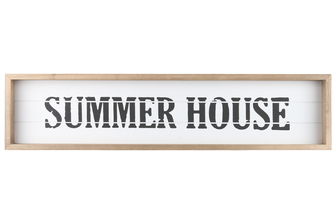 "UTC17116 Wood Rectangle Wall Art with Frame, Printed ""SUMMER HOUSE"" and Metal Sawtooth Back Hangers Smooth Finish White"