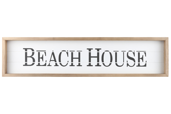 "UTC17117 Wood Rectangle Wall Art with Frame, Printed ""BEACH HOUSE"" and Metal Sawtooth Back Hangers Smooth Finish White"