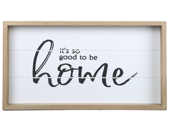 "UTC17118 Wood Rectangle Wall Art with Printed ""IT'S SO GOOD TO BE HOME"" and Metal Sawtooth Back Hangers Painted Finish White"