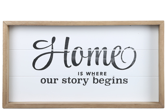 "UTC17119 Wood Rectangle Wall Art with Printed ""HOME OUR STORY BEGINS"" and Metal Sawtooth Back Hangers Painted Finish White"