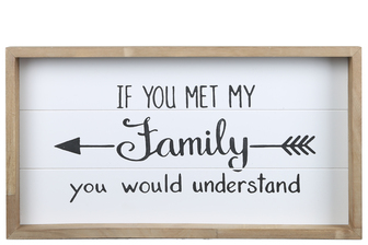 "UTC17120 Wood Rectangle Wall Art with Printed ""MET MY FAMILY"" and Metal Sawtooth Back Hangers Painted Finish White"