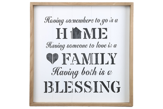 "UTC17121 Wood Square Wall Art with Printed ""Family Quote"" and Metal Sawtooth Back Hangers Painted Finish White"