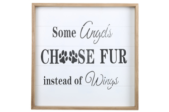 "UTC17123 Wood Square Wall Art with Printed ""CHOOSE FUR"" and Metal Sawtooth Back Hangers Painted Finish White"