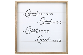 "UTC17124 Wood Square Wall Art with Printed ""GOOD FRIENDS"" and Metal Sawtooth Back Hangers Painted Finish White"