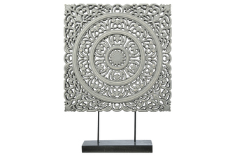UTC17201 Wood Square Ornament with Ring Medallion Design Body on Base Stand Distressed Finish Gray