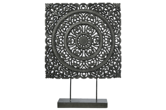 UTC17202 Wood Square Ornament with Ring Medallion Design Body on Base Stand Distressed Finish Black