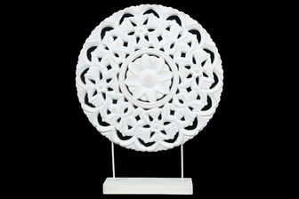 UTC17203 Wood Round Ornament with Floral Pattern Design on Base Stand Coated Finish White