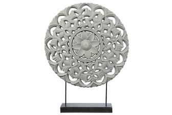 UTC17204 Wood Round Ornament with Floral Pattern Design on Base Stand Coated Finish Gray
