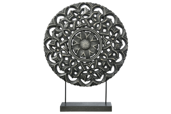 UTC17205 Wood Round Ornament with Floral Pattern Design on Base Stand Coated Finish Black