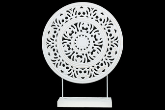 UTC17206 Wood Round Ornament with Floral Pattern Wheel Design on Base Stand Matte Finish White