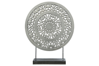 UTC17207 Wood Round Ornament with Floral Pattern Wheel Design on Base Stand Matte Finish Gray