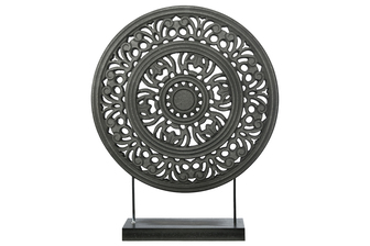 UTC17208 Wood Round Ornament with Floral Pattern Wheel Design on Base Stand Matte Finish Black