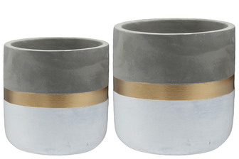 UTC17300 Terracotta Round Pot with Gold and White Banded Bottom Set of Two Natural Finish Gray