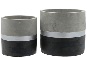 UTC17301 Terracotta Round Pot with Silver and Black Banded Bottom Set of Two Natural Finish Gray