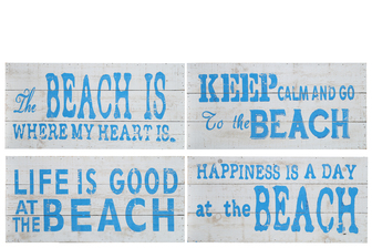 "UTC17400-AST Wood Rectangle Wall Art with ""Coastal Beach Quotes"" Printed in Blue Assortment of Four Distressed Finish White"