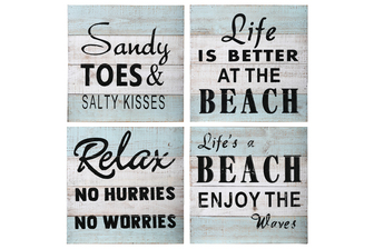 "UTC17401-AST Wood Square Wall Art with ""Coastal Beach Quotes"" Printed in Black Assortment of Four Distressed Finish White"