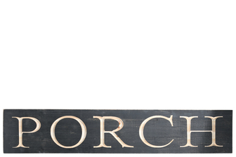 "UTC17402 Wood Rectangle Wall Art with ""PORCH"" Carved Writing Design Painted Finish Black"
