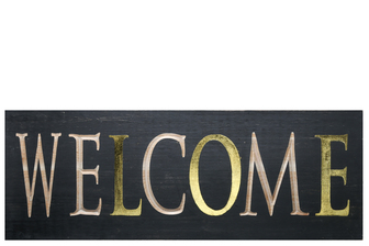 "UTC17403 Wood Rectangle Wall Art with ""WELCOME"" Carved Writing Design Painted Finish Black"