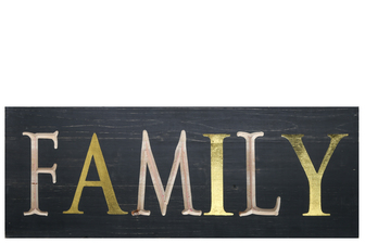 "UTC17404 Wood Rectangle Wall Art with ""FAMILY"" Carved Writing Design Painted Finish Black"