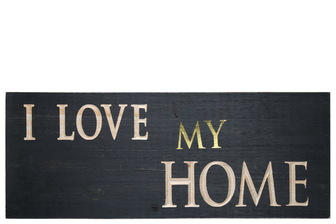 "UTC17405 Wood Rectangle Wall Art with ""I LOVE MY HOME"" Carved Writing Design Painted Finish Black"