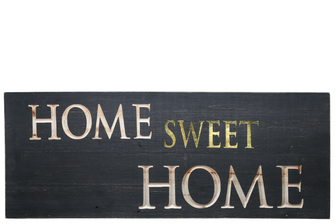 "UTC17406 Wood Rectangle Wall Art with ""HOME SWEET HOME"" Carved Writing Design Painted Finish Black"