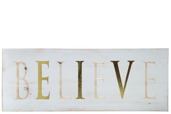 "UTC17407 Wood Rectangle Wall Art with ""BELIEVE"" Carved Writing Design Distressed Finish White"