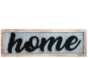 "UTC17408 Metal Rectangle Wall Art with Wood Frame and Carved ""Home"" Writing in Black Galvanized Finish Gray"