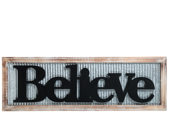 "UTC17409 Metal Rectangle Wall Art with Wood Frame and Carved ""Believe"" Writing in Black Galvanized Finish Gray"