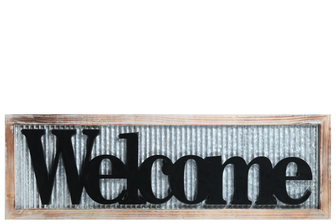 "UTC17410 Metal Rectangle Wall Art with Wood Frame and Carved ""Welcome"" Writing in Black Galvanized Finish Gray"