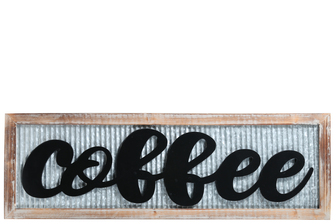 "UTC17412 Wood Rectangle Wall Art with Carved ""Coffee"" Writing in Red Galvanized Finish Gray"