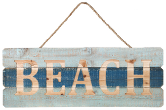 "UTC17414 Wood Rectangle Wall Art with Top Rope Hanger and Engraved ""BEACH"" Writing Distressed Finish Polychromatic"