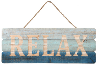 "UTC17415 Wood Rectangle Wall Art with Top Rope Hanger and Engraved ""RELAX"" Writing Distressed Finish Polychromatic"