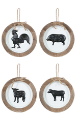 "UTC17500-AST Metal Round Wall Art with Wood Frame, Top Rope Hanger and Embossed ""Farm Animals"" Painted in Black Assortment of Four Coated Finish White"