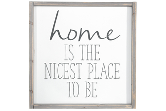 "UTC17501 Wood Square Wall Art with Frame and ""Home Inspirational Quote"" Printed in Black Rough Finish White"