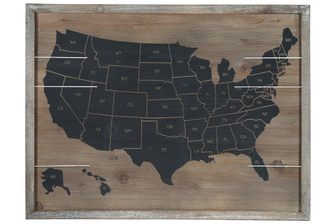 "UTC17502 Wood Rectangle Wall Art with Frame and ""USA Map"" Printed in Black Natural Finish Brown"