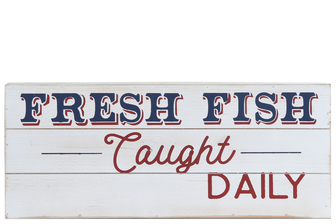 "UTC17504 Wood Rectangle Wall Art with ""FRESH FISH Caught DAILY"" Printed Distressed Finish White"