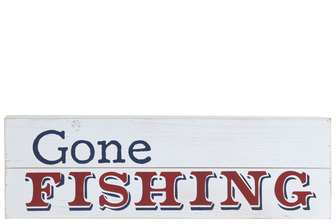 "UTC17505 Wood Rectangle Wall Art with ""GONE FISHING"" Printed Distressed Finish White"