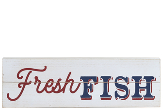 "UTC17506 Wood Rectangle Wall Art with ""FRESH FISH"" Printed Distressed Finish White"